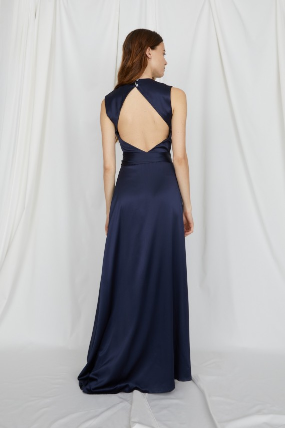 Noisette navy long wrap dress